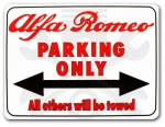 "Cedule ""Alfa Romeo Parking Only"""